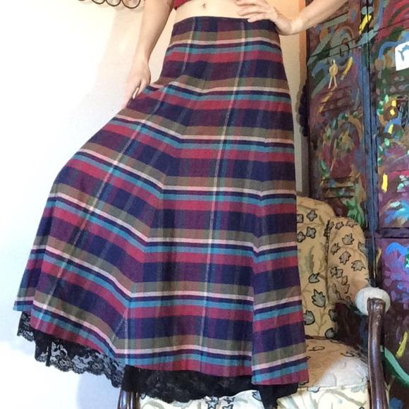 Bloomingdale's Dresses & Skirts - J. Peterman Maxi Plaid Lace Trim Skirt